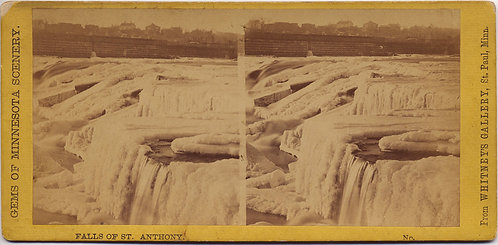 STEREOVIEW MINNESOTA ICY ST. ANTHONY FALLS FROZEN ICE WHITNEY'S