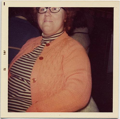 LARGE LINDA CASTENEDA LOUNGES in LOUCHE ORANGE SWEATER July 72