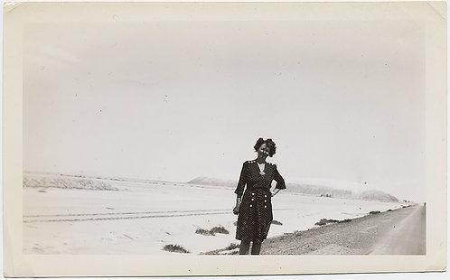 WOMAN in POLKA DOT DRESS on GREAT SALT LAKE UTAH VANISHING POINT