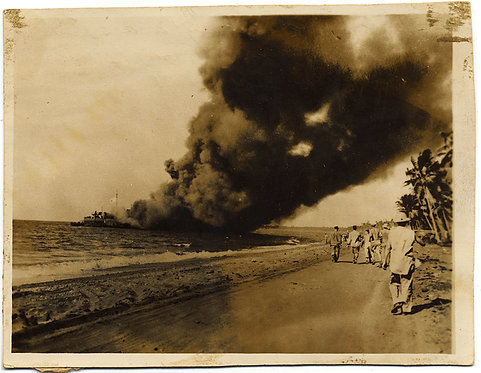 EXTRAORDINARY AIR RAID ATTACK SMOKE BILLOWS BOMBED SHIP GUADALCANAL?16 June 1944