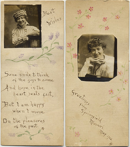 GORGEOUS PHOTO BOOKMARK? PHOTOBOOTH of WOMAN DECORATED PAINTED INSCRIBED UNUSUAL