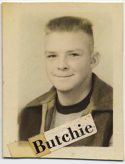 HAND TINTED FLAT TOP HAIR BOY named BUTCHIE ICONIC AMERICAN KID STIFLES SMILE!