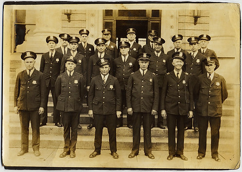 GROUP PHOTO POLICE PRECINCT GATHERS OUTSIDE STATION for FORMAL PORTRAIT
