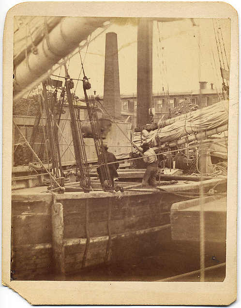 RARE and UNUSUAL STEVEDORES DOCKWORKER HARBOR SCENE BOSTON? SAILING SHIP RIGGING