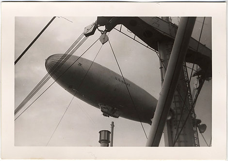 STUNNING NAVY BLIMP DIRIGIBLE ZEPPELIN AIRSHIP over SHIP's MAST RIG COMPOSITION
