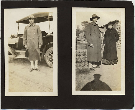 a WWI DOUGHBOY, his CAR, his MOTHER & a SHADOW! SOLDIER in GREATCOAT off to WAR