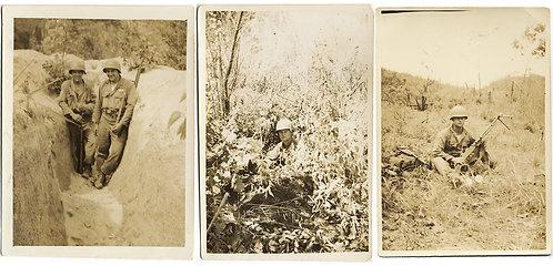 VIETNAM? KOREAN? WAR BUDDIES w GUNS in TRENCH CAMOUFLAGED JUNGLE CAPTION 3 pics!