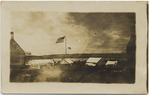 MOODY RPPC! CAMP with AMERICAN FLAG on LAKESIDE w DRAMATIC SKY!