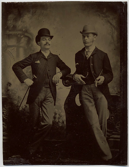 SUPERB TINTYPE DANDIES FASHIONABLE DAPPER MEN PAINTED BACKDROP ELEGANT REFINED