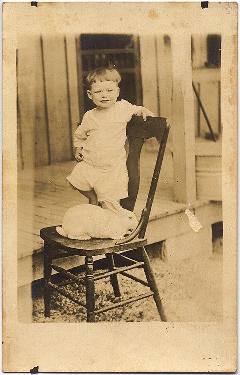 CUTE ADORABLE LITTLE MISCHIEVOUS BOY w PET WHITE BUNNY RABBIT on CHAIR RPPC