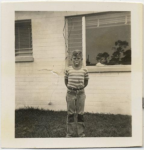 EERIE DISTURBING BOY w FAKE PROSTHETIC TEETH OBSERVED by SHADOW CHILD in WINDOW