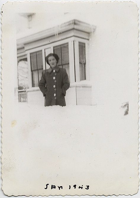 SPLIT IMAGE! WOMAN in SNOW drift! WHITE out!