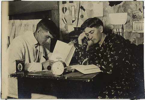 WONDERFUL RPPC DORM ROOM BUDDIES POSE STUDYING w CLOCK & PRINCE ALBERT TOBACCO