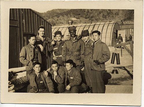 SERIOUS ASIANS POSE w SMILING US SOLDIERS inc ONE BLACK SERVICEMAN VIETNAM KOREA