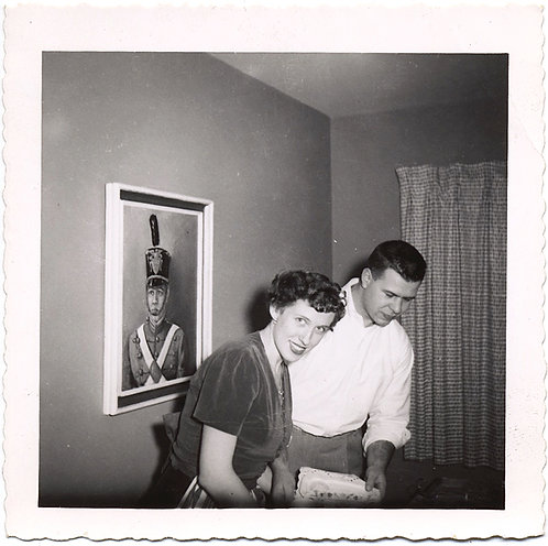 PAINTING of DRUM MAJOR OVERLOOKS MID-CENTURY MODERN COUPLE at WORK
