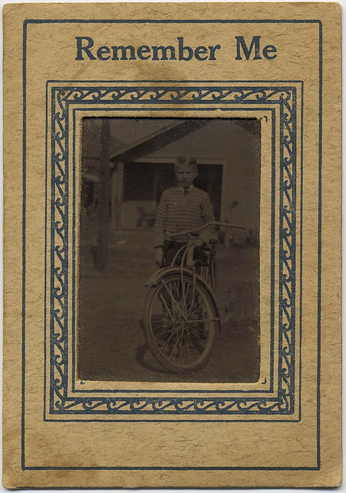 "FAUX TINTYPE BOY with BICYCLE in CARD ""REMEMBER ME"" FRAME"