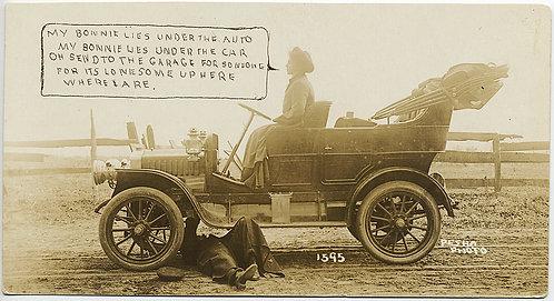 RPPC VINTAGE CAR BREAKDOWN with RHYMING DITTY LYRICS CAPTION HUMOR!
