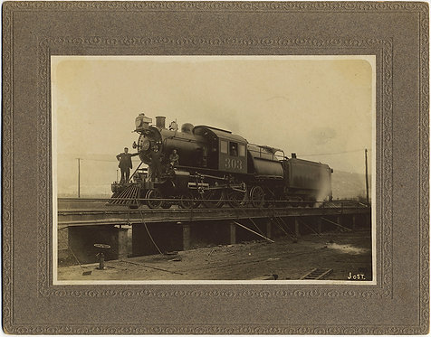 SUPERB CARD MOUNTED IMAGE of TRAIN STEAM ENGINE ENGINEERS