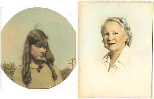 2 DELICATELY HAND TINTED COLORED IMAGES: PRETTY YOUNG GIRLw CURLS OLDER & WOMAN