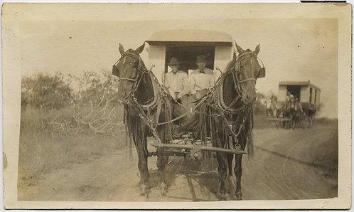 UNUSUAL TRAIN CARAVAN PROCESSION of HORSE DRAWN CARTS