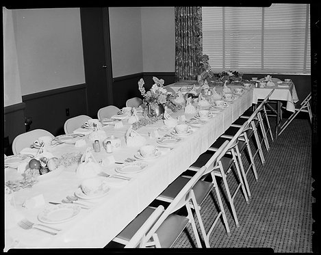 4x5 NEGATIVE PRESS PHOTO LONG TABLES SET for LUNCH or DINNER FOLDING CHAIRS