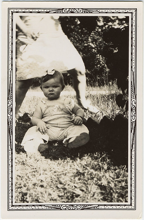 DISGRUNTLED BABY on GRASS with BOW and MOVING MOTHER!
