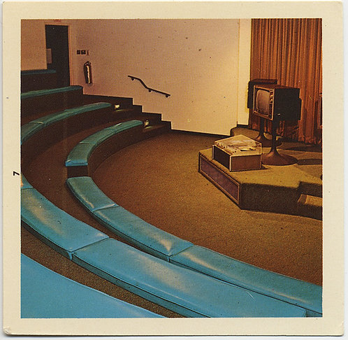 TURQUOISE BANQUETTES SEATING in MID CENTURY LECTURE HALL w TV UNUSUAL