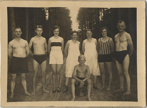 RPPC SHIRTLESS RIPPED GERMAN? NATURE LOVERS GROUP TOGETHER