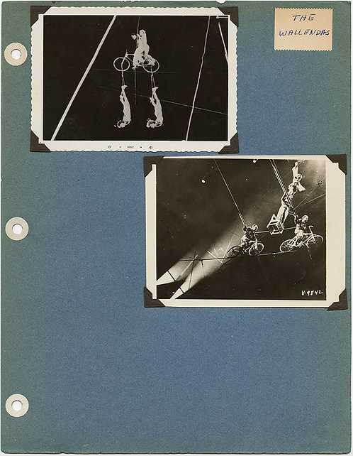 ALBUM PAGE CIRCUS FLYING WALLENDAS HIGH WIRE BALANCING BICYCLE ACT 1961