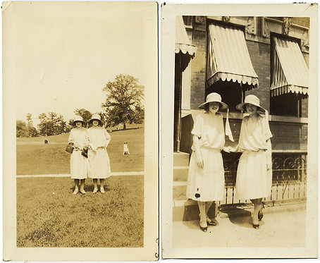 DOUBLE TROUBLE TWO TWIN? WOMEN in IDENTICAL WHITE DRESSES HATS TOGETHER 2 pix