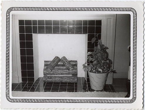 GRAPHIC DELIGHT! TILE GRID FIREPLACE MANTEL w FAKE LOGS & DECORATIVE SNAP BORDER