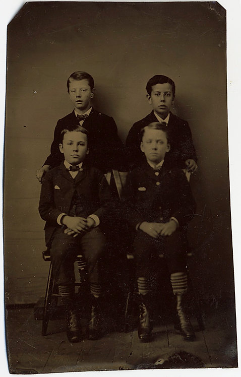 LOVELY STUDIO TINTYPE of FOUR CUTE YOUNG BOYS DRESSED UP in their SUNDAY BEST