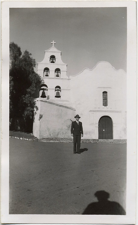 DAPPER MAN in HAT at SAN DIEGO MISSION w SHADOW of PHOTOGRAPHER