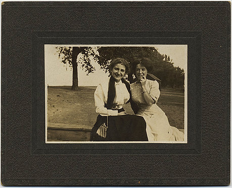 TWO LOVELY EDWARDIAN LADIES in OUTSIDE POSE ONE DECIDEDLY WACKY and GOOFY