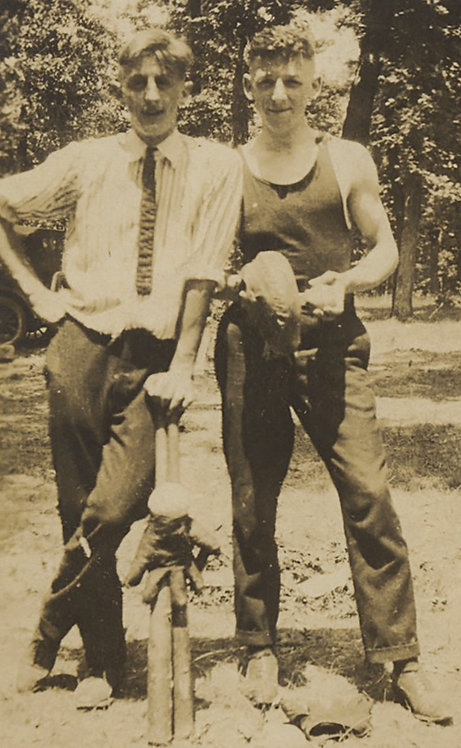 HUNKY MUSCULAR YOUNG EARLY BASEBALL PLAYERS POSE PROUDLY w MITT BALL BAT GAY int
