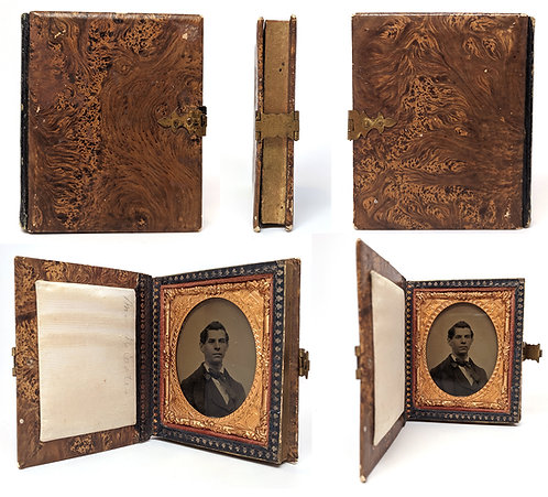 RARE & UNUSUAL 9th PLATE AMBROTYPE YOUNG MAN in FAUX UNIQUE BURL WOOD CASE