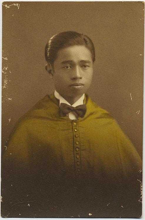 FILIPINO SEMINARIAN in BEAUTIFULLY TINTED CASSOCK BOWTIE STUDIO RPPC