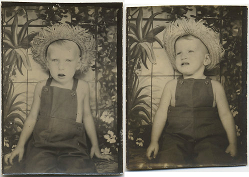 ADORABLE little BOY in OVERALLS and STRAW HAT in RUSTIC PHOTOBOOTH 2 pics