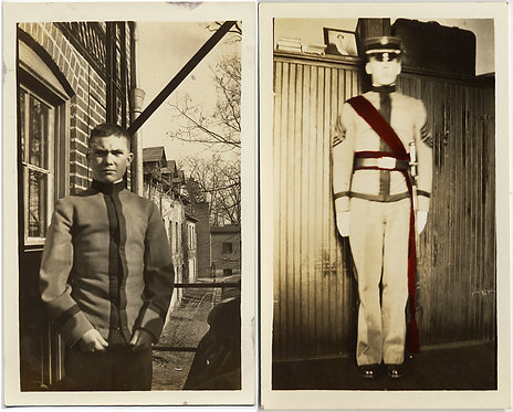 2 pics: SERIOUS CADET & AT ATTENTION CADET w TINTED CEREMONIAL SASH