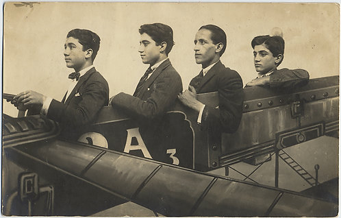 ARGENTINIAN RPPC NEW YEARS 1919 4 MEN in FLYING MACHINE ARCADE