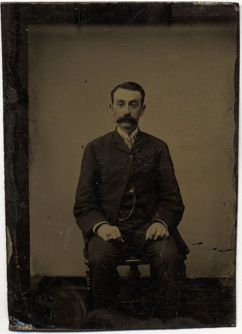 SUPERB DIRECT PORTRAIT of MAN with HUGE MOUSTACHE SIGNET RING