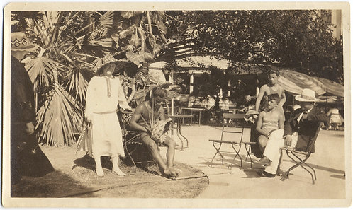 IDA & SEXY SHIRTLESS HUNKY HAWAIIAN HAT & BASKET WEAVER DAD & BOYS LOOK ON 1926