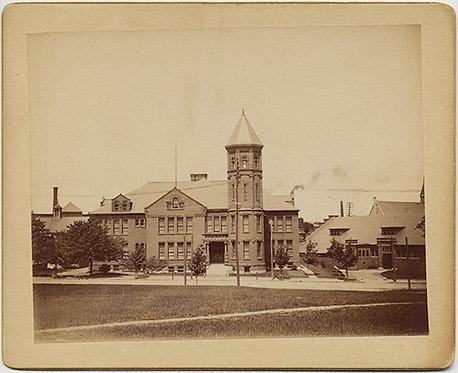 SUPERB EARLY KODAK SALISBURY STREET SCHOOL WORCESTER MA July 1895 GREAT CAPTION