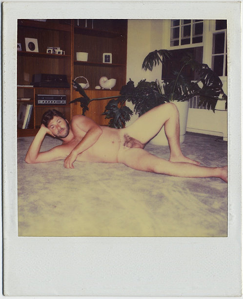 NAKED NUDE HIRSUTE HUNK LETS it ALL HANG OUT on PLUSH CARPET POLAROID