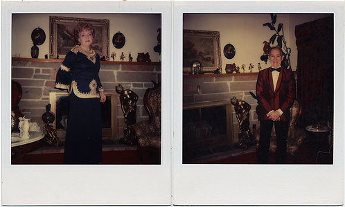 FABULOUS POLAROID DIPTYCH of MAN & WOMAN going OUT on the TOWN