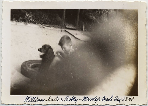 William & PET DOG Bobby MOODY'S BEACH 1940 OBSTRUCTED by PHOTOGRAPHER'S FINGER!
