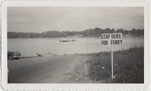 STOP HERE for FERRY RIVER CROSSING SIGN SIGNAGE UNUSUAL