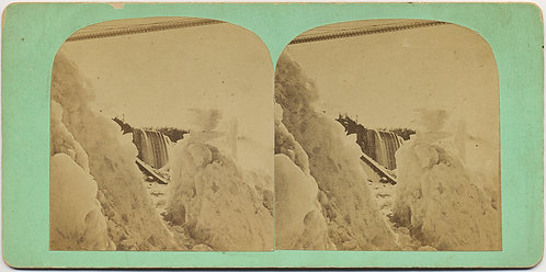 INTERESTING STEREOVIEW of ICY FROZEN WATERFALL