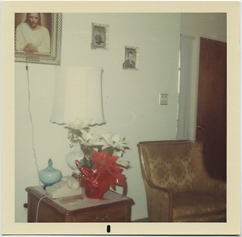 PLUGGED IN JESUS PHOTO on WALL of SUBURBAN HOME INTERIOR