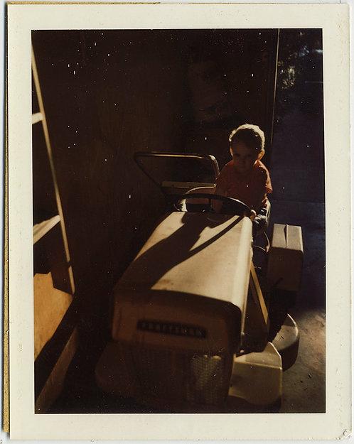 STUNNING POLAROID LATE AFTERNOON SUNLIGHT BACKLIT CHILD on TRACTOR